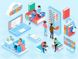 people reading in a library self publishing animated illustration