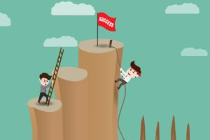 men climbing mountain of success business networking successful people animated illustration