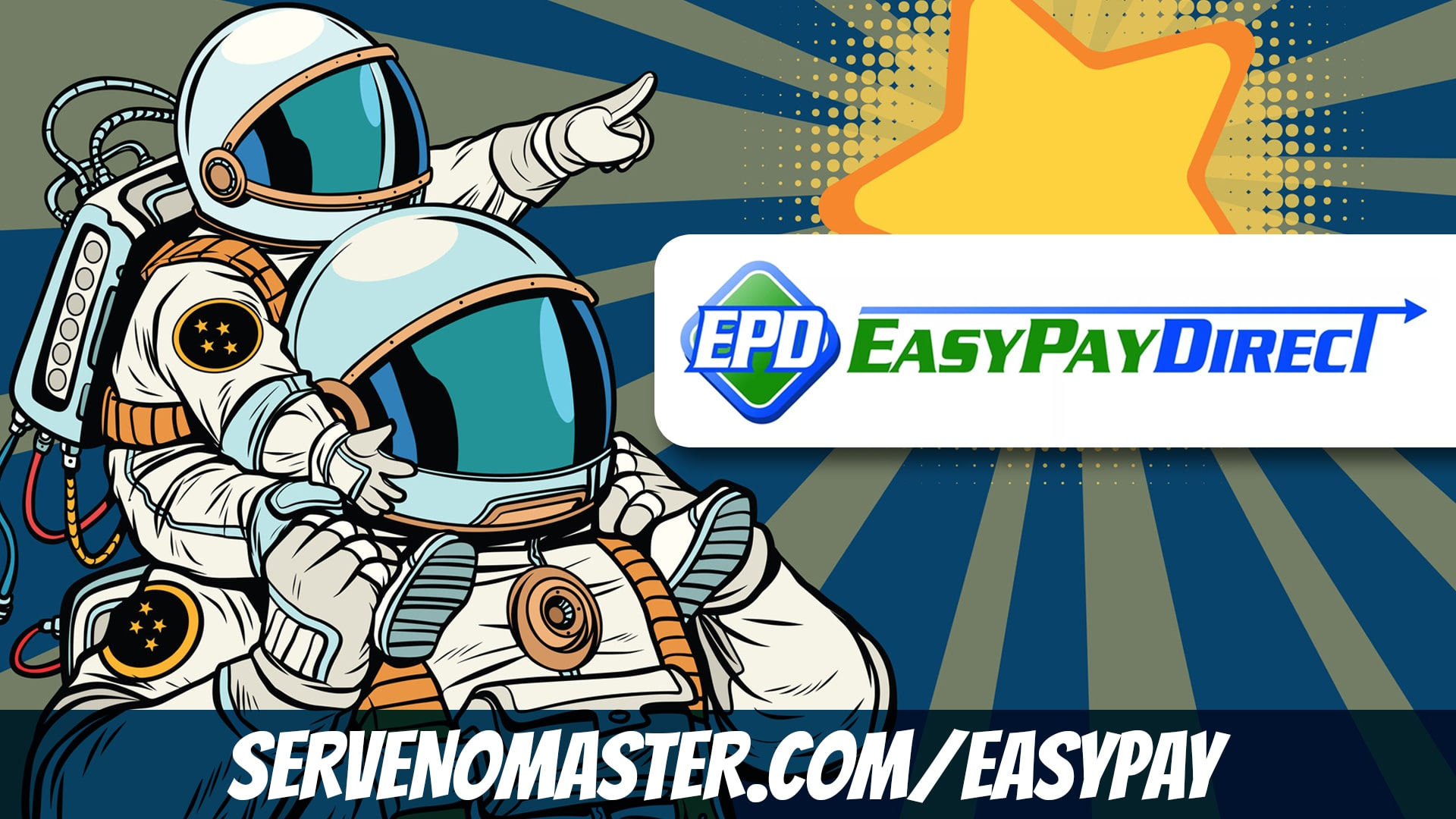 astronauts looking at starts easy pay affiliate banner for serve no master illustration