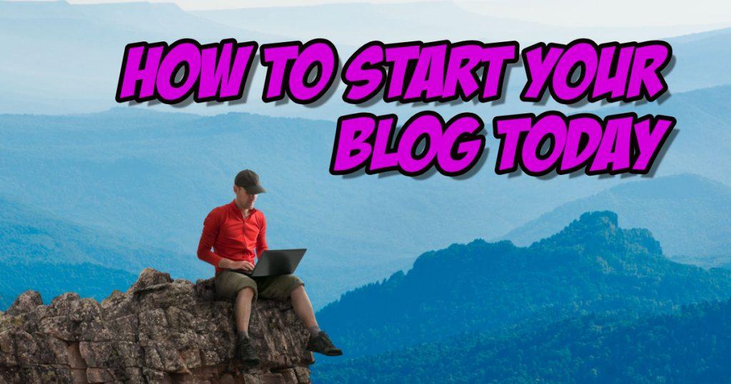 man sitting on a mountain pinnacle writing on his computerhow to start a blog start a blog
