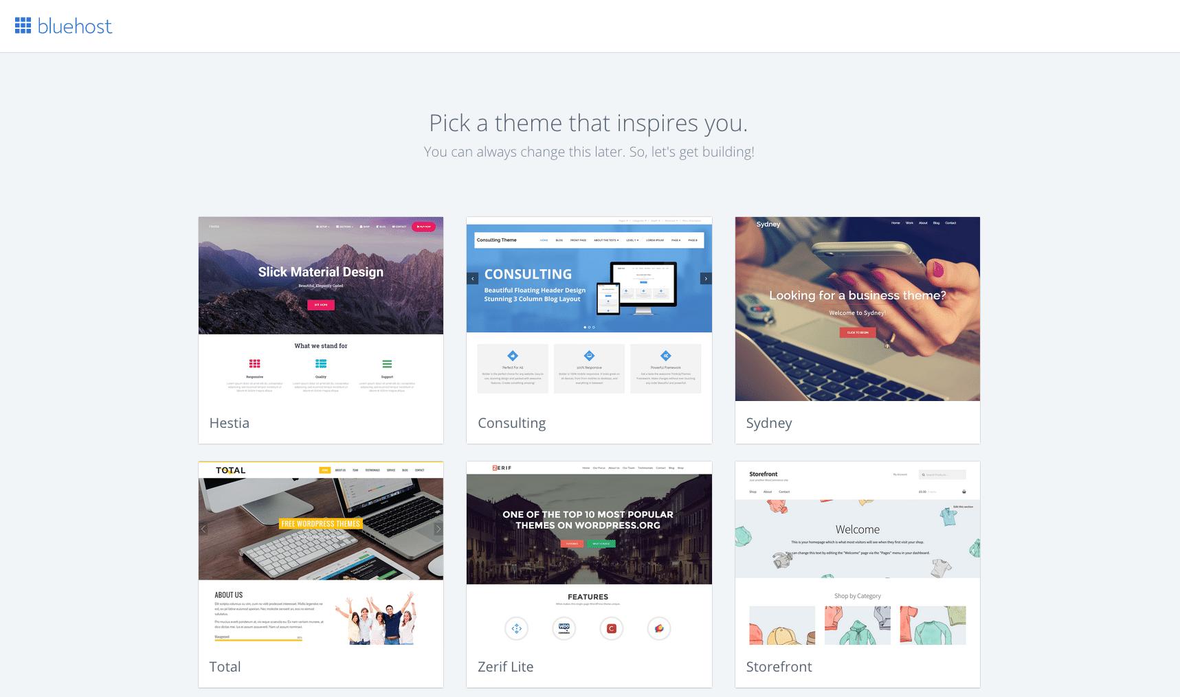 bluehost wordpress theme dashboard screenshot launch a blog