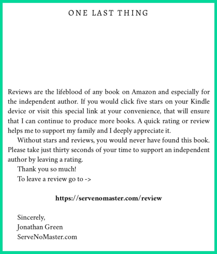 Review Link in your Kindle Book