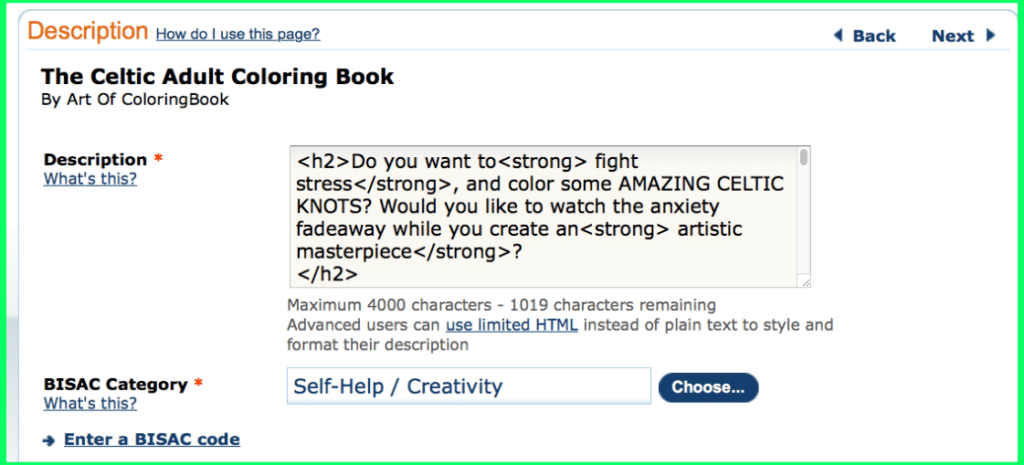CreateSpace Book Description Page