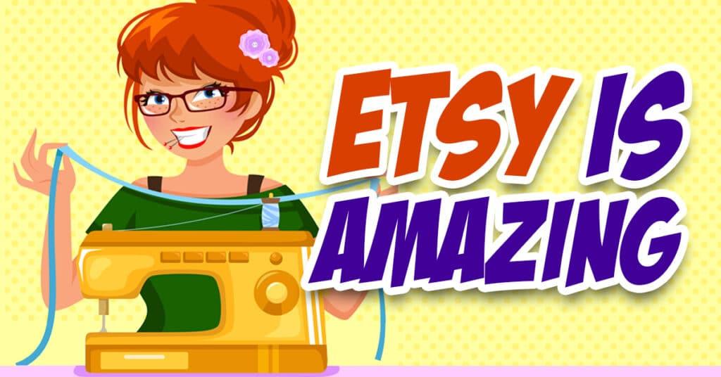 etsy ecommerce plarform illustrated animation of a girl crafting for etsy