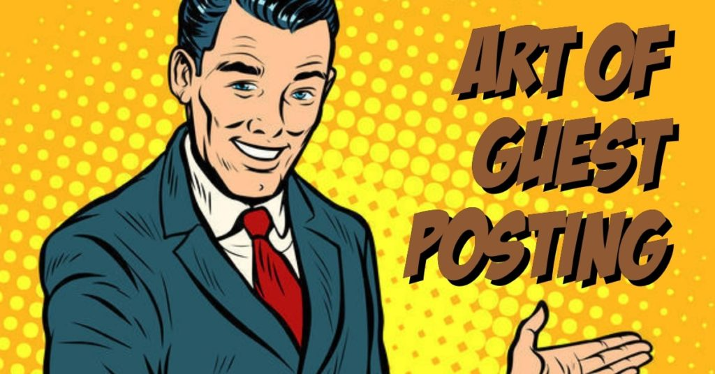 man directioning at guest posting guest blogging letters animated illustration