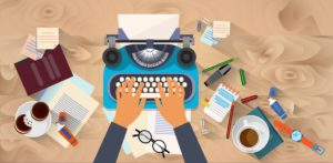 Hands Typing Text blogger copywriter how to become a copywriter illustration