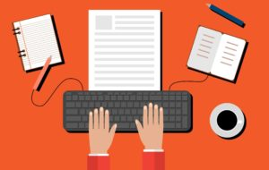 how to become a copywriter typewriting keyboard illustration