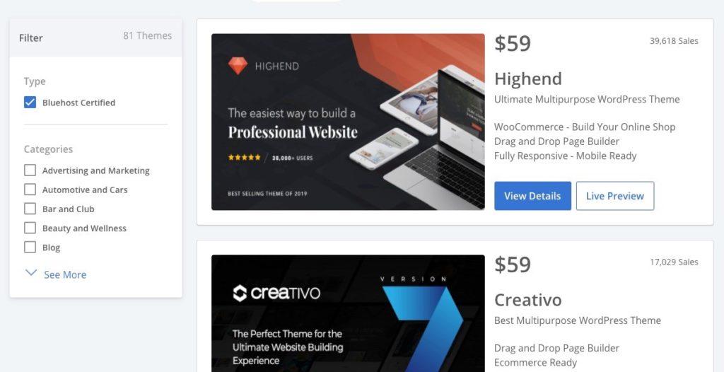 bluehost certified themes dashboard screenshot
