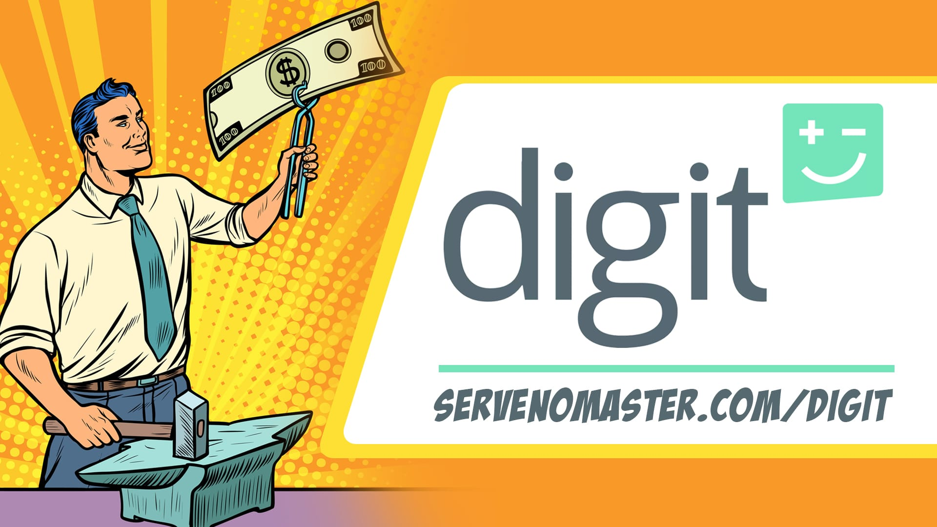 man holding a dollar bill in the air digit affiliate ad seo basics animated illustratoion