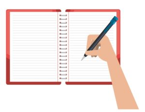 a hand writing in a notebook how to craft good blog titles, how to make money with a blog animated illustration