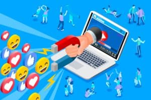 make money from a blog how to hand reaching from laptop searching for audience animated illustration