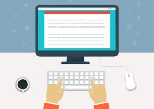 how to make money blogging man writing on a laptop animated illustration